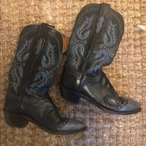 NWOT LUCCHESE western boots two-tone black/blue